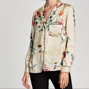 Floral satin shirt